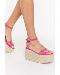 "Nasty Gal ""let's Clear Things Up Perspex Platform Sandals"" - Pink"