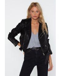 "Nasty Gal ""vegan Faux Leather Jacket With Buckle Belt"" - Black"