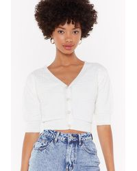 """Nasty Gal """"rumour Has Knit Cropped Button-down Cardigan"""" - White"""