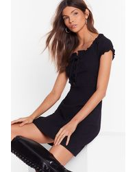 """Nasty Gal """"black Tied Lace-up Dress With Square Neckline"""""""