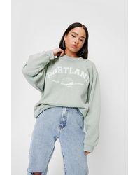 Nasty Gal Petite Portland Graphic Long Sleeve Sweatshirt - Multicolour