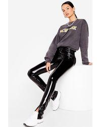Nasty Gal Vinyl Split Hem High Waisted Trousers - Black