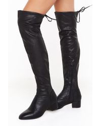 """Nasty Gal """"it's Over Faux Leather Thigh High Boots"""" - Black"""