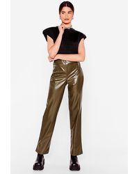 Nasty Gal In A State Of Croc Faux Leather Trousers - Green