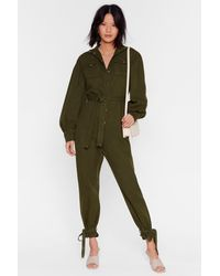 """Nasty Gal """"switch Up The Volume Denim Belted Boilersuit"""" - Green"""