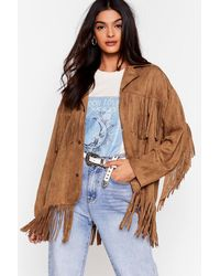 Nasty Gal Swing By Faux Suede Fringe Jacket - Multicolour