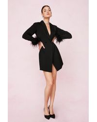 Nasty Gal Bridal Feather Cuff Blazer Mini Dress - Black