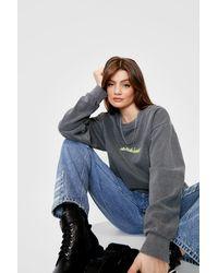 Nasty Gal Uh Huh Honey Oversized Graphic Sweatshirt - Grey