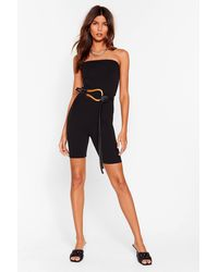 Nasty Gal What Do They Bandeau Fitted Unitard - Black