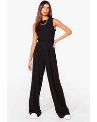 Nasty Gal Cropped Vest Top And Wide Leg Trousers Set - Black