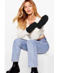 Nasty Gal Come In Handy Faux Shearling Mitten Gloves - Multicolour