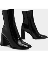 Nasty Gal Patent Pointed Flare Heel Ankle Boots - Black