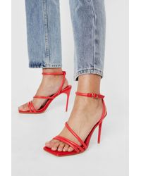 Nasty Gal - Skinny Strappy Square Toe Heeled Sandals - Lyst