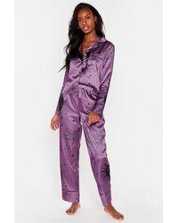 Nasty Gal Pyjama Chemise & Pantalon En Satin Je Ne Te Demande Pas La Lune - Violet