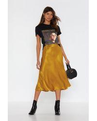 """Nasty Gal """"sleek Havoc Bias Cut Satin Skirt"""" - Metallic"""
