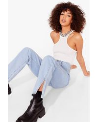 Nasty Gal We Split Up Straight Leg Organic Jeans - Blue