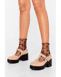 Nasty Gal We Stand Together Patent Mary Jane Shoes - Natural