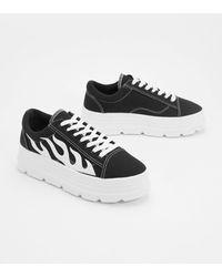 Nasty Gal Flame Lace Up Platform Sneakers - Black
