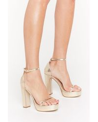 Nasty Gal Just Dance Strappy Platform Heels - Metallic