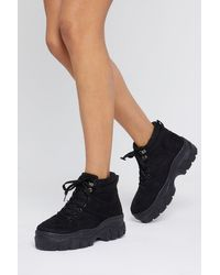 """Nasty Gal """"can I Get A Boot Boot Chunky Sneakers"""" - Black"""