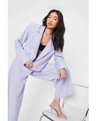 Nasty Gal Oversized Shoulder Pad Cropped Tailored Blazer - Purple