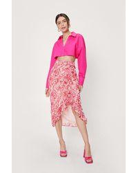 Nasty Gal Abstract Print Chiffon Ruched Midi Skirt - Rose
