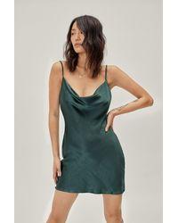 Nasty Gal Cowl Neck Satin Mini Dress - Green