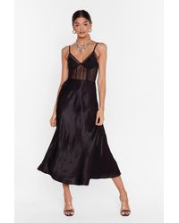 "Nasty Gal ""high-waisted Midi Silhouette Satin Midi Skirt"" - Black"