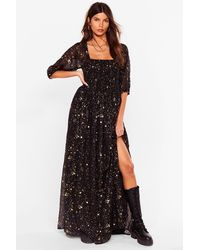 Nasty Gal Star Print Metallic Maxi Dress - Black