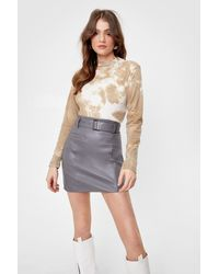Nasty Gal - Faux Leather Buckle Belted Mini Skirt - Lyst