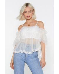 Nasty Gal Mesh And Ready Cold Shoulder Top - White