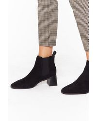 Nasty Gal Suede Your Move Faux Suede Chelsea Boots - Black