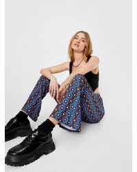 Nasty Gal High Waisted Retro Floral Flare Trousers - Blue