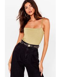 Nasty Gal Don't Slink Twice Square Neck High-leg Bodysuit - Green