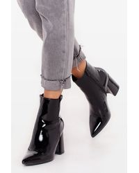 Nasty Gal - Patent Leather Pointed Toe Ankle Boots - Lyst