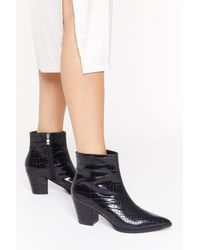 """Nasty Gal """"pop Croc And Drop Faux Leather Block Heel Boots"""" - Black"""