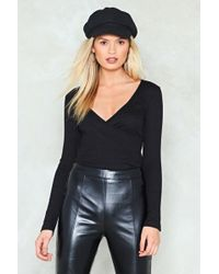 Nasty Gal - Ribbed Wrap Top - Lyst