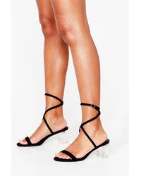 Nasty Gal Faux Suede Strappy Clear Block Heels - Black