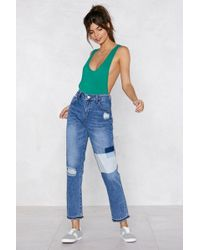 Nasty Gal - Washed Patch Mom Jean - Lyst