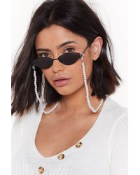 Nasty Gal Mysterious Pearl Glasses Chain - White