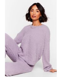 Nasty Gal Luxe Good To Me Fluffy Knit Wide-leg Lounge Set - Purple