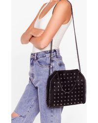 Nasty Gal Want Studded Chain Crossbody Bag - Black