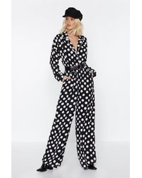 "Nasty Gal ""you Dot It Polka Dot Jumpsuit"" - Black"