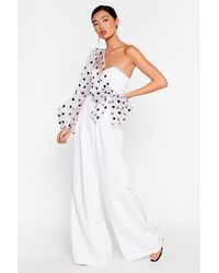 """Nasty Gal """"catch A Chill Organza Polka Dot Jumpsuit"""" - White"""