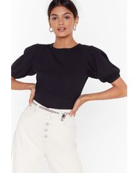 Nasty Gal Arms Wide Open Puff Sleeve Ribbed Top - Black
