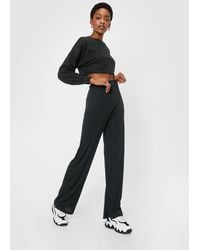 "Nasty Gal ""better Two-gether Ribbed Crop Top And Pants Set"" - Black"