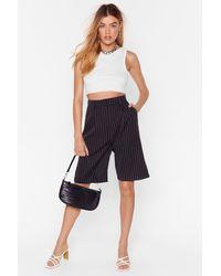 "Nasty Gal ""unfinished Business Pinstripe Longline Shorts"" - Black"