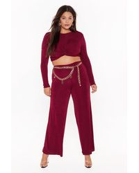 Nasty Gal I'm Knot Kidding Plus Crop Top And Pants Set - Red