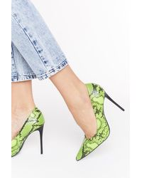 """Nasty Gal """"don't Listen To Snake News Faux Leather Court Heels"""" - Green"""