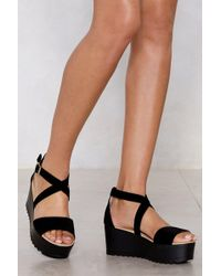 Nasty Gal - Don't Cross Me Faux Suede Sandal - Lyst